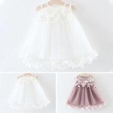 Mädchen Kleid Blume Ärmellos Blumenmuster Weiß/Rosa Baby Kind Komfortabel