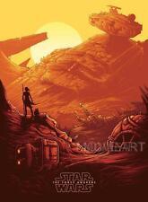 STAR WARS THE FORCE AWAKENS ORANGE MOVIE POSTER FILM A4 A3 ART PRINT CINEMA