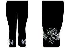 Plus Capri Legging Embellished Crystal Rhinestone Slvr Gothic Biker Skull Wings