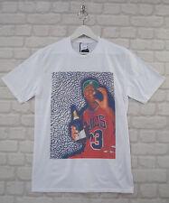 Realidad de Michael Jordan Champagne Blanco Cuello Redondo Camiseta Camiseta