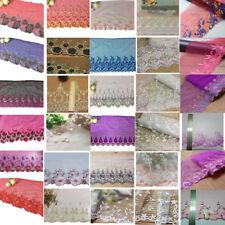 1Yard Vintage Floral Tulle Embroidered Lace Bridal Applique Trim Sawing Craft