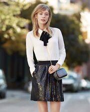 Ann Taylor - Size 10 Black Elastic Grossgrain Sequin Mini Skirt $109.00 (D606)