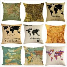 "18"" Nautical Cushion Cover World Map Decorative Pillow Case Linen Cotton Cojines"