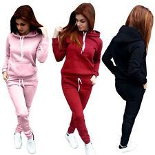 2Pcs Women Pockets Tracksuit Gym Sport Sweatshirt Hoodie Pullover Tops Pants Set