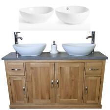 Solid Oak Bathroom Vanity Unit Cabinet Ceramic Basin Tap Set Grey Quartz 402