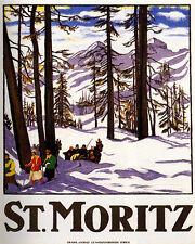 POSTER SKI SKIING ST. MORITZ ALPS SWITZERLAND TRAVEL VINTAGE REPRO FREE S/H