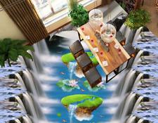 3D River Lotus Fish 6 Floor WallPaper Murals Wall Print 5D AJ WALLPAPER UK Lemon
