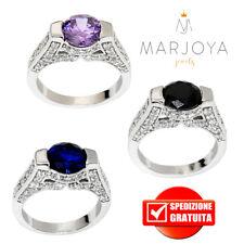 Anello solitario in argento 925 rodiato con zirconi bianchi,nero,blu e viola
