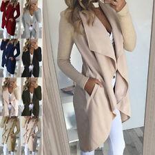 Women Slim Large Lapel Windbreaker Mid-length Jacket Wave Coat Fashion Autumn