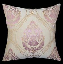 HC542a Lt Gold Dusty Pink Beige Floral Jacquard Cotton Cushion Cover/Pillow Case