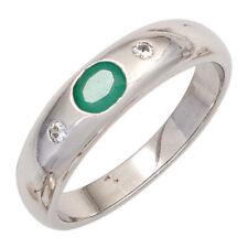 Ring Damenring Smaragd oval grün Zirkonia weiß 925 Silber schlicht, Silberring