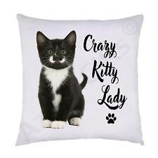 Crazy Kitty Lady Cat Cushion (Moustache Kitten), 38x38cm, Gift For Cat Lover