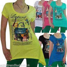 Damen Party T-Shirt Longshirt Top Strass Print Stretch Longtop Tunika T-Shirts