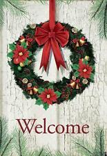Morigins Welcome Christmas Wreath Double Sided Decor Holiday Winter Garden Flag