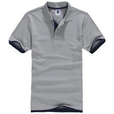 Mens Short Sleeve Polo Shirt Plain Top Designer Style Fit T-Shirt Grey Navy