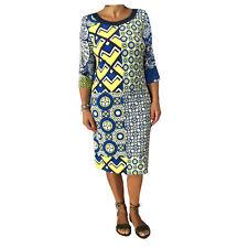 CALALUNA vestido mujer azul/amarillo manga 3/4 97%viscosa 3% elastano