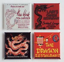 Red Dragon Chinese Food FRIDGE MAGNET Set restaurant sign tea garden matchbook