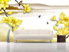 3D Jaune Fleur Arbr Photo Papier Peint en Autocollant Murale Plafond Chambre Art
