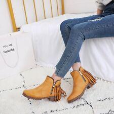Women Flat Heel Tassel Ankle Boots Retro Round Toe Zipper Shoes Booties Big Size