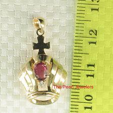 14k Yellow Solid Gold Crown Design Genuine Red Rubies Diamond Pendant TPJ
