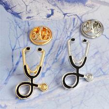Oro plateado estetoscopio broche pines enfermera joyería médicos joyería regalos