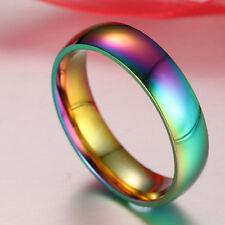 Rainbow Color Titanium Steel Finger Rings Men/Womens Engagement Wedding Band JS