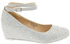 New Rhinestone Crystal Ankle Strap Med Low Wedge Heel Ballet Flat Women's Pump