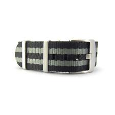 Seat Belt NATO Watch Strap | James Bond (Black & Grey) | 20mm 22mm