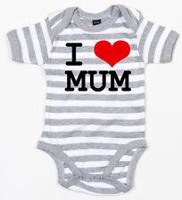 I LOVE MUM Baby-Body grau/weiss gestreift