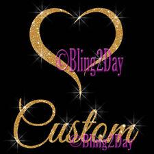 Baby Heart -Custom Name Glitter- Iron on Vinyl/Rhinestone Transfer Baby Bump DIY