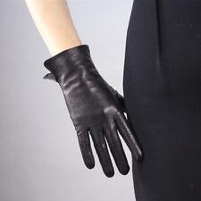 Real Leather Wrist Long Short Gloves Black Genuine Lambskin Sheepskin