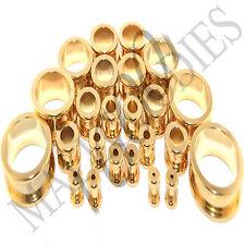 "V125 Screw-on / fit Gold Flesh Tunnels Ear Plugs Earlets 14G ~ 2"" 38 41 45 50mm"