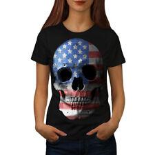 Calavera Bandera Americana EE. UU. Mujer Camiseta Nuevo | wellcoda