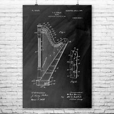 Harp Poster Patent Print Gift Harp Wall Harp Patent Harp Design Harpist Gift