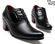 Men High cuban Heel lace up oxford shoes black fashion dress formal Shoes