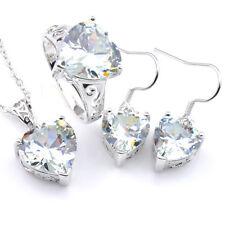 Handmade 3 pcs Natural White Fire Topaz Gems Silver Heart Pendant Earrings Rings