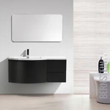 Badmöbel Set LAURANCE 1200 Weiß Hochglanz Schwarz matt Waschbecken Unterschrank