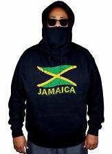 Men's Grunge Jamaica Flag Mask Hoodie Jamaican Pride Rasta Weed Sweater Jacket
