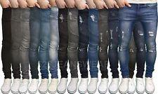 Bordo in pietra da uomo di marca Stretch Super Skinny Fit Strappato Jeans, nuova con etichetta