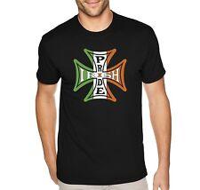 Mens Irish Pride Iron Cross Flag Celtic Beer Clover St. Patrick's Day T-Shirt