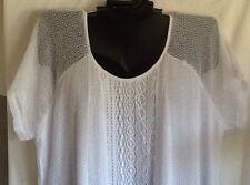 Isela Woman Lace Mesh Crochet Ladies Shirt Top Swim Handkerchief Black White NEW