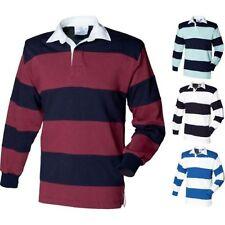 Hombre Front Row Cosido Rayas Manga Larga 100% Algodón Rugby Cuello Camisa