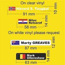 Personalised Bike Frame Name Vinyl Decal Stickers Any Flag Cycle Bicycle*Helmet