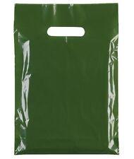 VERDE PLASTICA BUSTE/REGALO NEGOZIO sacchetto di / al dettaglio 25cm x 31cm 9cm