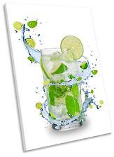 Lemonade Lemon Lime Drink Kitchen Framed CANVAS WALL ART Print Picture