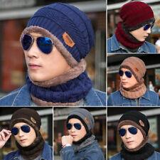 2-Pieces Men Women Winter Beanie Hat+Scarf Set Warm Knit Thick Fleece Lined Cap