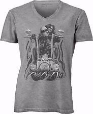 T-shirt con scollo a v, 100% cotone single jersey con stampa: RAIDER