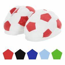 Kids Football Slippers Plush Cosy Fleece Boys Novelty Padded Fabric Non-Slip