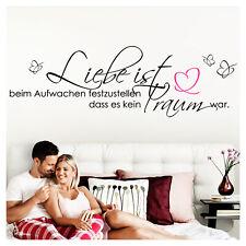 Wandtattoo Wandsticker Wandaufkleber Schlafzimmer Spruch Liebe ist Herz W800