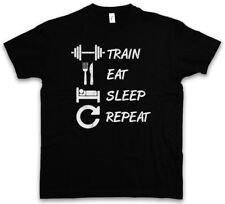 Train Eat Sleep Repeat T-Shirt Curls Hard No Pain No Gain Fun Muscle Gainz Fun